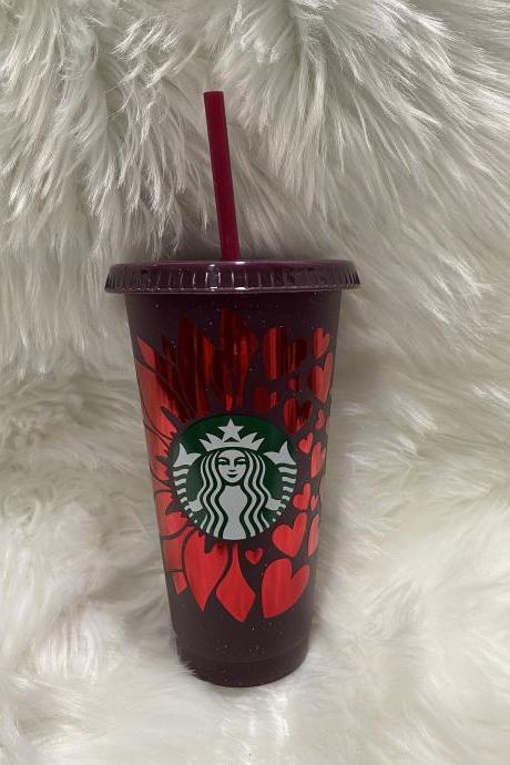 Starbucks Sunflower Hearts Cup, Starbucks Valentines Day Cup, Starbucks Glitter Cups, Starbucks Reusable Venti Cold Cup