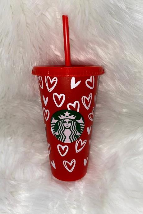 Starbucks Hearts Cup, Starbucks Valentines Day Cup, Starbucks Venti Reusable Cold Cup, Heart Tumbler, Personalized Cups