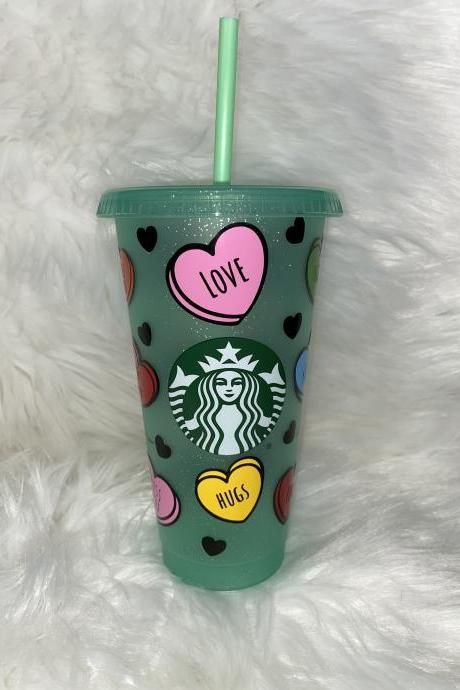 Starbucks Candy Hearts Cup, Starbucks Valentines Day Cup, Venti Starbucks Tumbler, Conversation Hearts