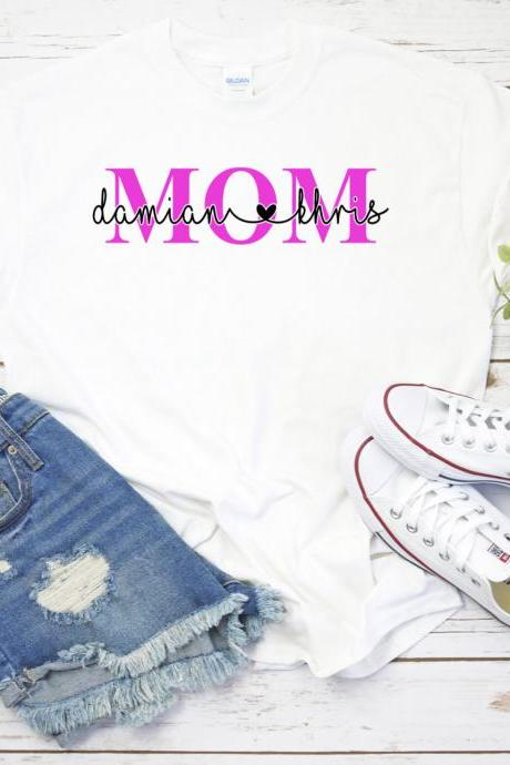 Mothers Day Shirt, Mom Shirt, Mama Shirt, Momma Shirt, Personalized, Kid Names, Gift, Customized