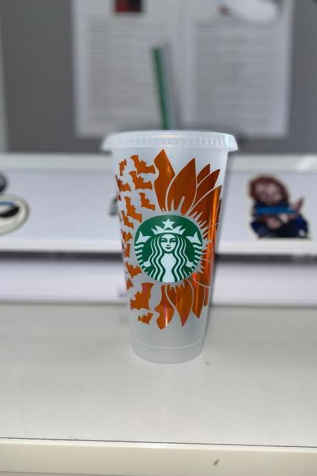 Starbucks Glitter Cups, Sunflower Starbucks Cup, Bat Cup, Reusable Venti Cup