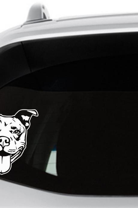 Pitbull Decal, Happy Pit, Pet Sticker, Laptop Decal, Window Decal, Staffy Decal, American Staffordshire, Dog Decal