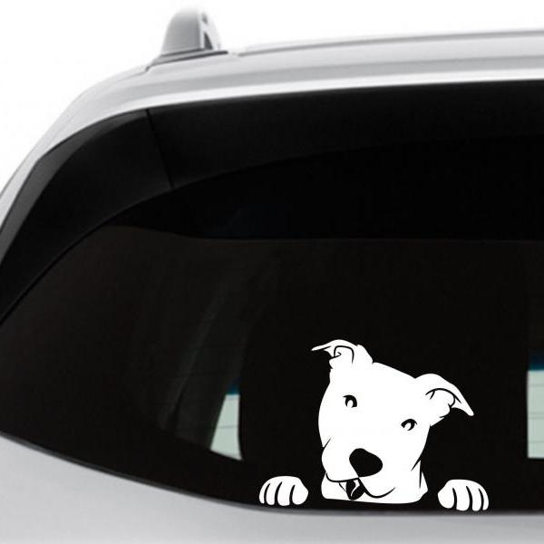 Peeking Pitbull Car Decal, Happy Smiling Pitbull, Pit, Laptop Vinyl Decal, Window Sticker